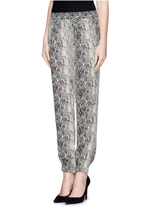 Front View - Click To Enlarge - Lanvin - Snake print silk jogging pants