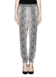 LANVINSnake print silk jogging pants