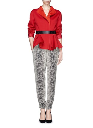 Figure View - Click To Enlarge - Lanvin - Snake print silk jogging pants