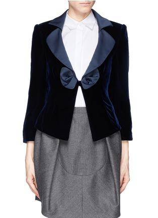 Main View - Click To Enlarge - Armani Collezioni - Satin lapel bow velvet jacket