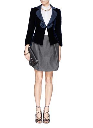 Figure View - Click To Enlarge - Armani Collezioni - Satin lapel bow velvet jacket