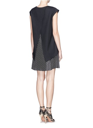 Back View - Click To Enlarge - THAKOON - Drape wool and floral print silk dress