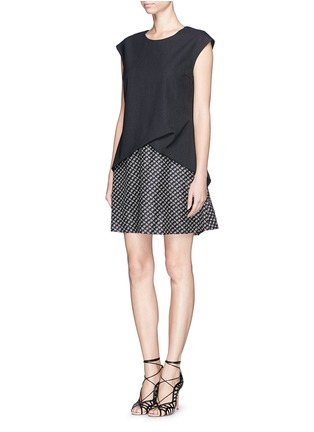 Figure View - Click To Enlarge - THAKOON - Drape wool and floral print silk dress