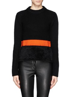 NEIL BARRETT Contrast band chunky knit crop sweater