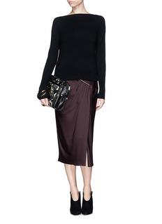JASON WUPleat front open slit satin skirt