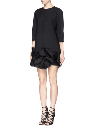 Figure View - Click To Enlarge - Victoria Beckham - Ruffle organza hem crepe dress