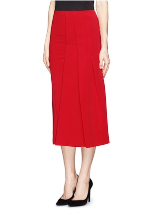Front View - Click To Enlarge - Victoria Beckham - Asymmetric pleat stretch jersey midi skirt