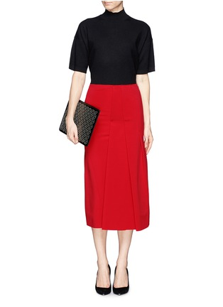 Figure View - Click To Enlarge - Victoria Beckham - Asymmetric pleat stretch jersey midi skirt