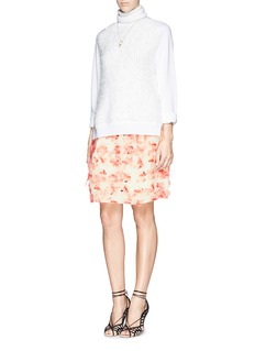 TANYA TAYLOR 'Ella' stippled organza floral print pleat skirt