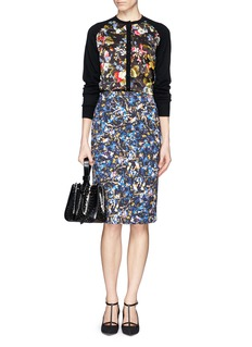 ERDEM 'Dorothy' floral silk panel wool cardigan