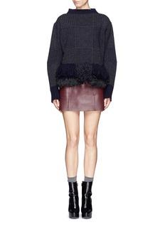SACAIHoundstooth wool blend fringe sweater