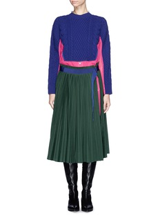 SACAI Wool sweater pleat skirt shirt dress