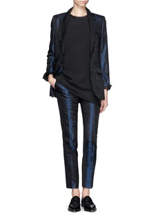 EACH X OTHER Leather trim brocade tuxedo pants