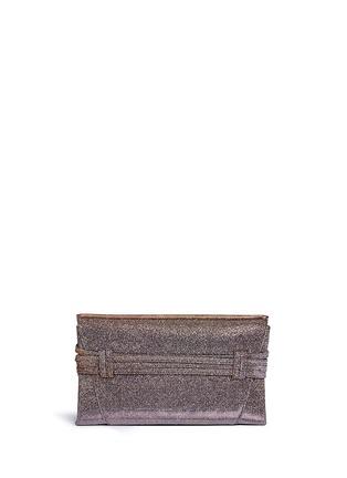 Detail View - Click To Enlarge - Stuart Weitzman - 'Petite Black Tie' wraparound tie lamé glitter clutch