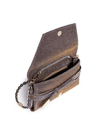 - Stuart Weitzman - 'Petite Black Tie' wraparound tie lamé glitter clutch