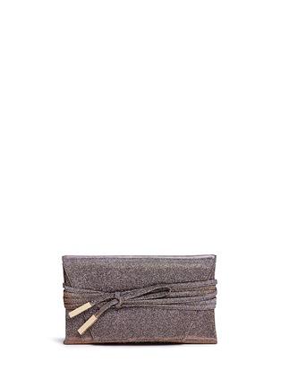 Main View - Click To Enlarge - Stuart Weitzman - 'Petite Black Tie' wraparound tie lamé glitter clutch