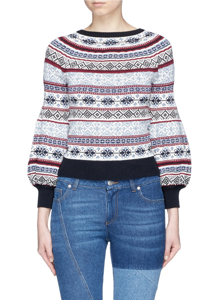 Fair Isle knit puffed sleeve sweater by Alexander McQueen