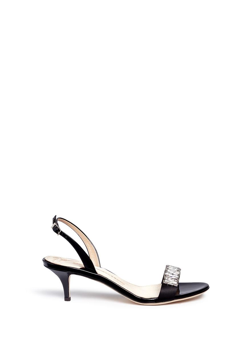 Mistico crystal embellished satin slingback sandals by Giuseppe Zanotti Design