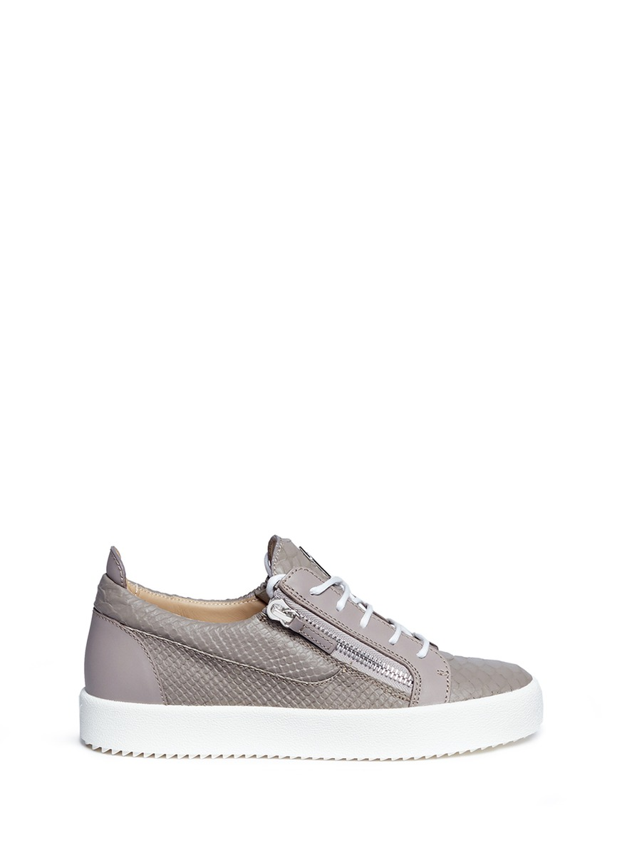 May London python embossed leather sneakers by Giuseppe Zanotti Design