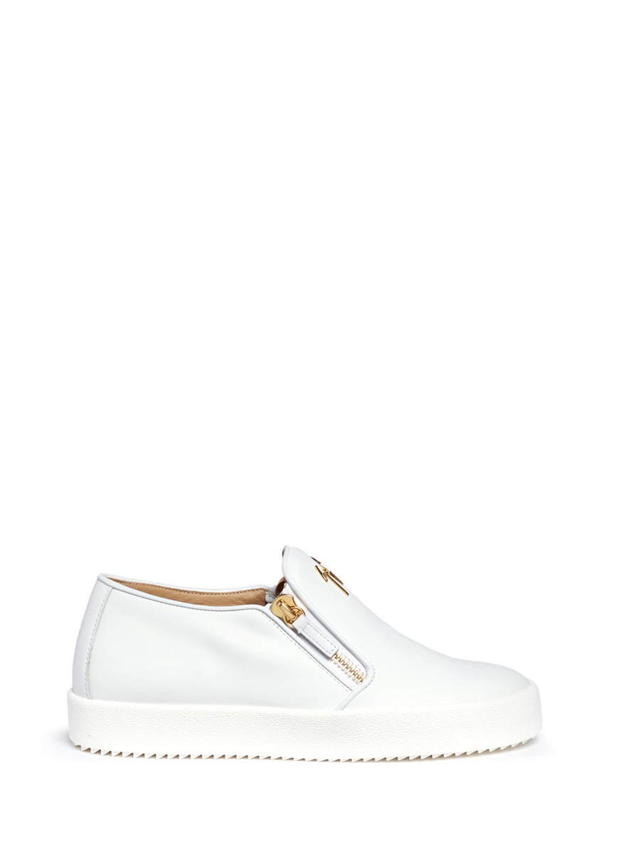 Eve logo double zip leather slip-ons by Giuseppe Zanotti Design