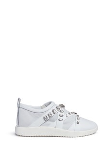 Giuseppe Zanotti Design 'Mistico' glass crystal leather and suede sneakers
