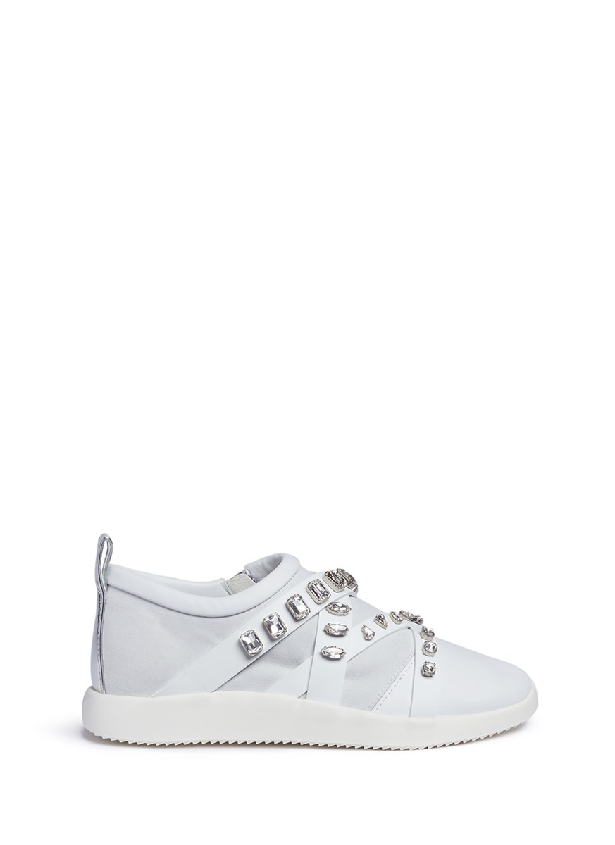 Mistico glass crystal leather and suede sneakers by Giuseppe Zanotti Design