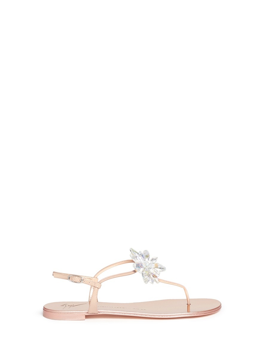 Rock 10 Infradito 3D glass flower leather thong sandals by Giuseppe Zanotti Design