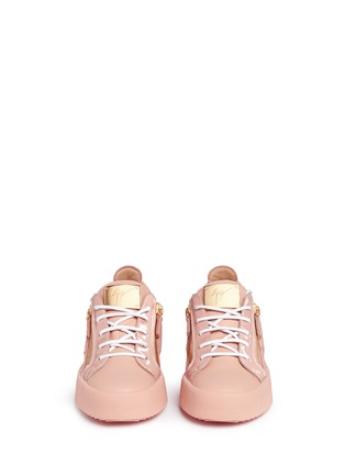 Front View - Click To Enlarge - Giuseppe Zanotti Design - 'Nicki' double zip leather sneakers