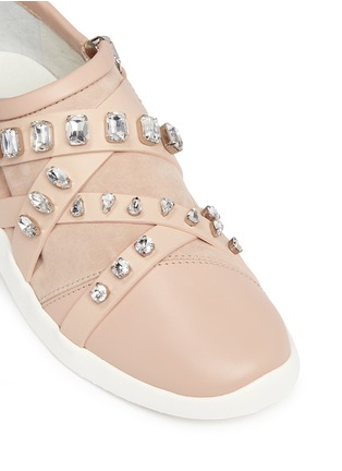 Detail View - Click To Enlarge - Giuseppe Zanotti Design - Singleg' glass crystal strap suede sneakers