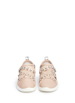 Front View - Click To Enlarge - Giuseppe Zanotti Design - Singleg' glass crystal strap suede sneakers