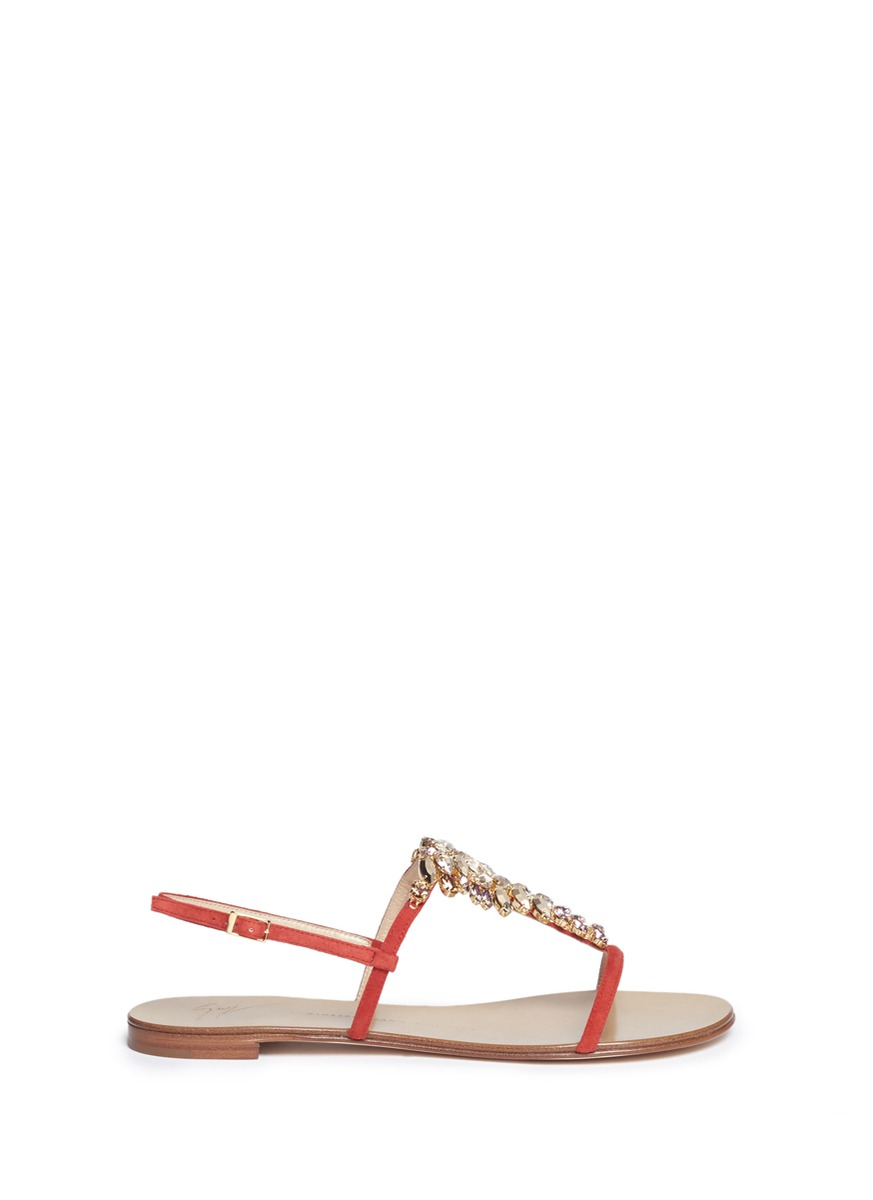 Roll 10 glass crystal embellished suede sandals by Giuseppe Zanotti Design