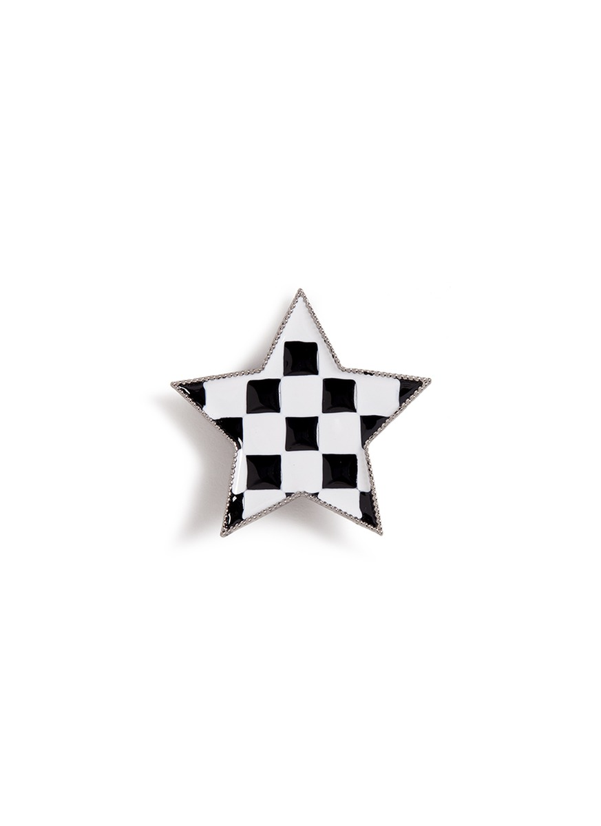 marc jacobs female enamel check star pin