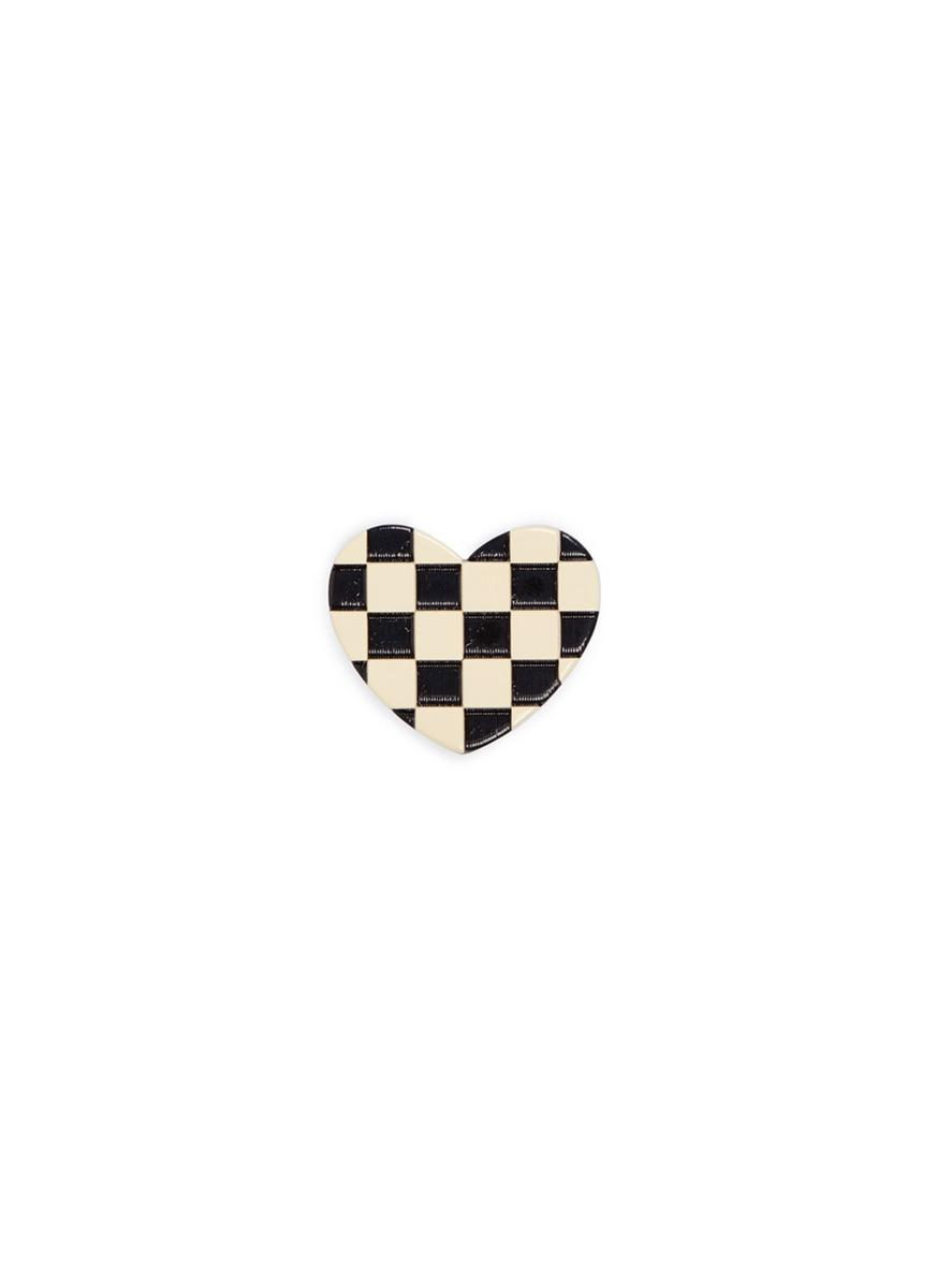 marc jacobs female  enamel check heart pin