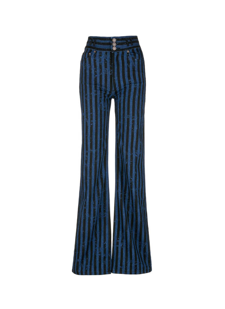 marc jacobs female distressed stripe high waist jeans