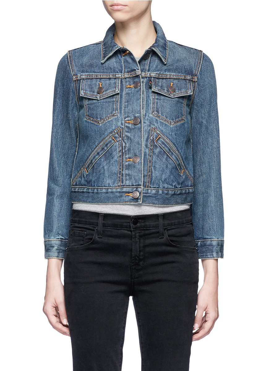 marc jacobs female patchmarc customisation shrunken denim jacket