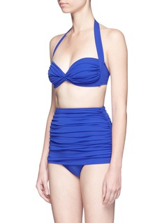 Norma Kamali'Bill' shirred high waist bikini bottoms