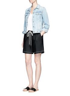 bassikeShoelace drawcord waist crepe shorts