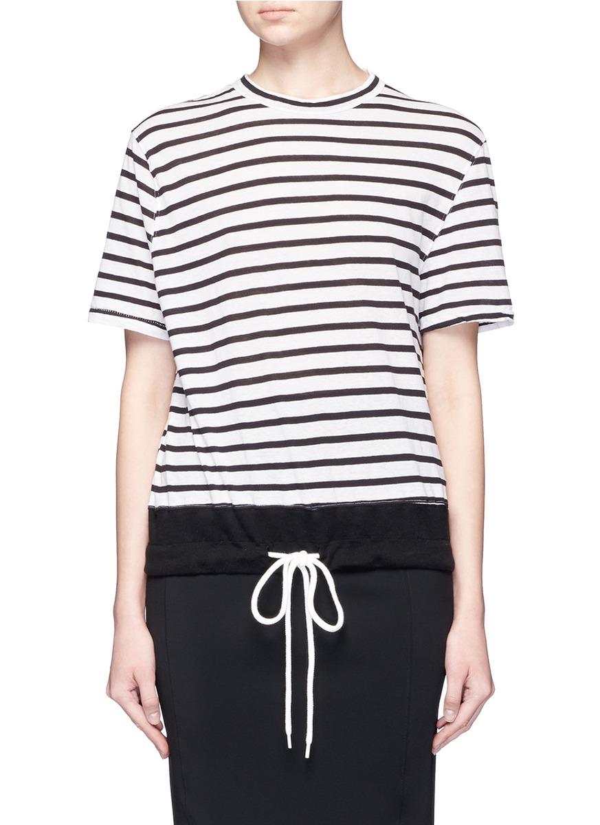 Stripe drawstring hem organic cotton T-shirt by bassike