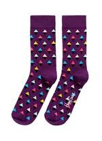 拼色菱形图案袜子