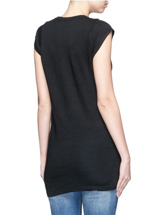 Back View - Click To Enlarge - Isabel Marant Étoile - Cap sleeve linen jersey T-shirt
