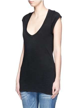 Front View - Click To Enlarge - Isabel Marant Étoile - Cap sleeve linen jersey T-shirt