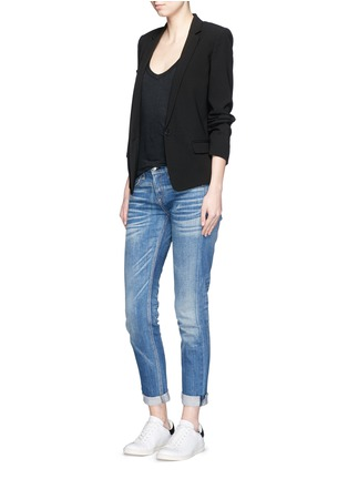 Figure View - Click To Enlarge - Isabel Marant Étoile - Cap sleeve linen jersey T-shirt