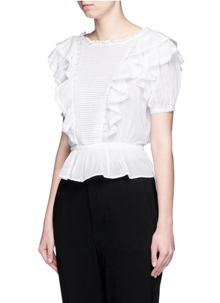 Front View - Click To Enlarge - Isabel Marant Étoile - 'Alice's Ruffles' cotton voile top