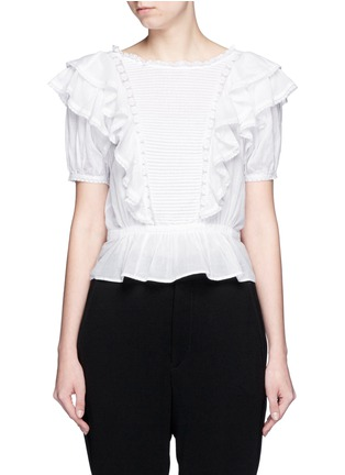 Main View - Click To Enlarge - Isabel Marant Étoile - 'Alice's Ruffles' cotton voile top