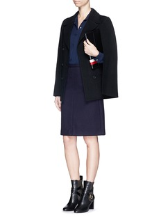 THEORY'Midi SL' virgin wool blend twill skirt