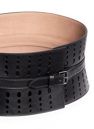 Detail View - Click To Enlarge - Alaïa - Graduating dot perforation leather corset belt