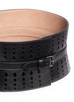 Graduating dot perforation leather corset belt
