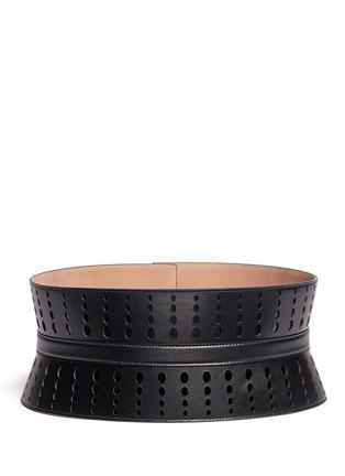 Back View - Click To Enlarge - Alaïa - Graduating dot perforation leather corset belt