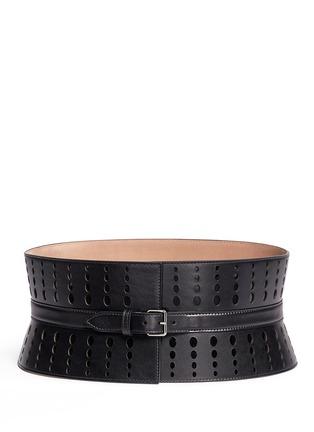 Main View - Click To Enlarge - Alaïa - Graduating dot perforation leather corset belt
