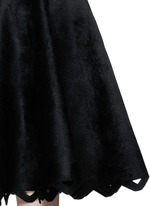 'Trigone' zigzag hem velour flare midi skirt